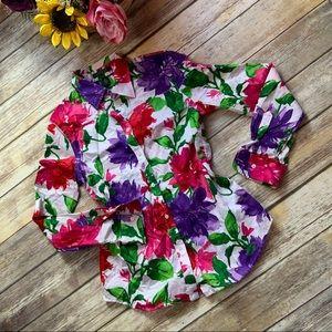 Ralf Lauren Color Pop Floral Button Down Blouse